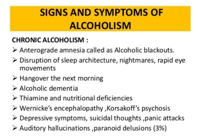Symptoms and signs of alcoholism